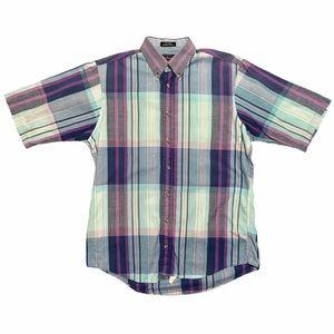 Burberry 1980s Vintage Plaid Button Down Shirt